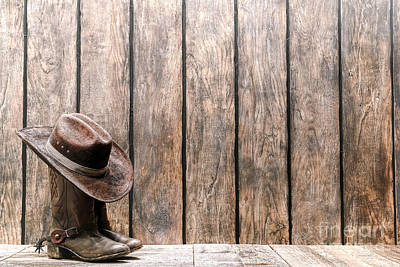 Cowboy Hat On Boots Art Print by Olivier Le Queinec