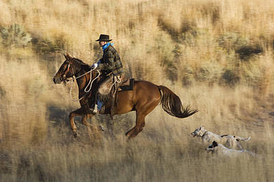Cowboy Riding With Dogs Oregon Art Print by Konrad Wothe