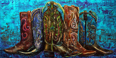 Cowgirl Boot Painting - Cowgirl Boots by Jennifer Godshalk