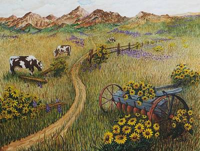 Cows Grazing Art Print by Katherine Young-Beck
