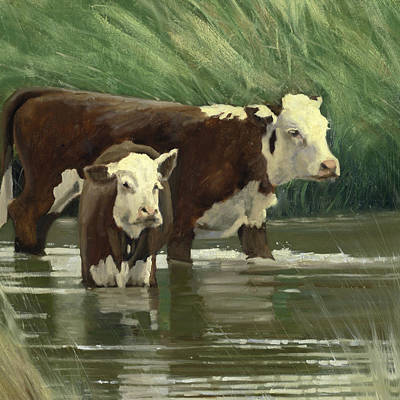 Painting - Cows In The Pond by John Reynolds