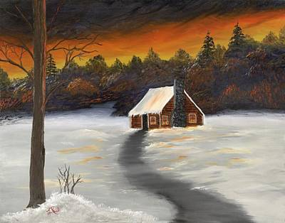 Lisa Rodriguez Painting - Cozy Cabin by Lisa Rodriguez