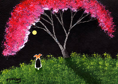 Wire Fox Terrier Painting - Crabapple Tree by Todd Young