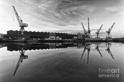 Cranes On The Clyde  Art Print by John Farnan