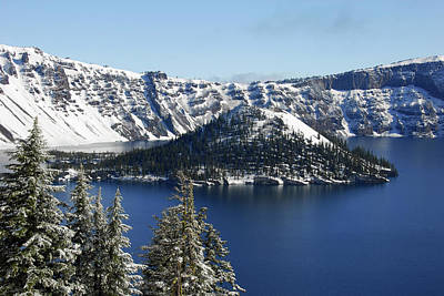 Snow-covered Landscape Photograph - Crater Lake National Park, Oregon, Usa by Michel Hersen