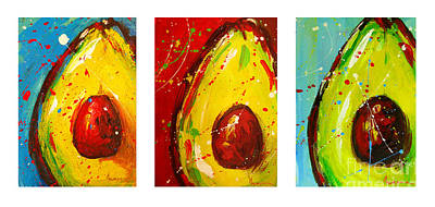 Food And Beverage Royalty-Free and Rights-Managed Images - Crazy Avocados Triptych by Patricia Awapara