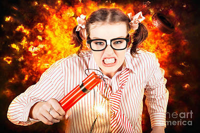 Fury Photograph - Crazy Business Worker Under Explosive Stress by Jorgo Photography - Wall Art Gallery