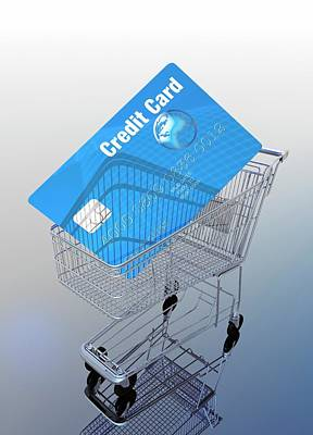 Credit Card And Trolley Art Print