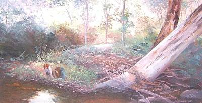 Landscape With Creek Painting - Creek In The Forest by Jan Matson