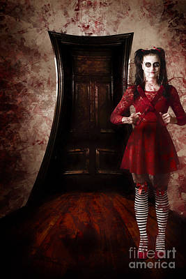 Haunted Houses Photograph - Creepy Woman With Bloody Scissors In Haunted House by Jorgo Photography - Wall Art Gallery