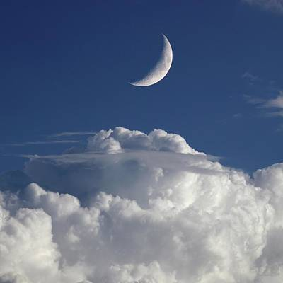 Crescent Moon In Cloudy Sky Art Print