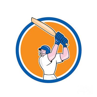 Batsman Digital Art - Cricket Player Batsman Batting Circle Cartoon by Aloysius Patrimonio