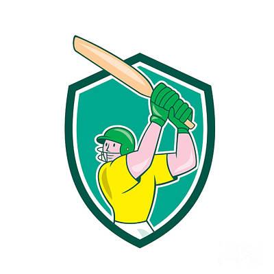 Cricket Player Batsman Batting Shield Cartoon Art Print
