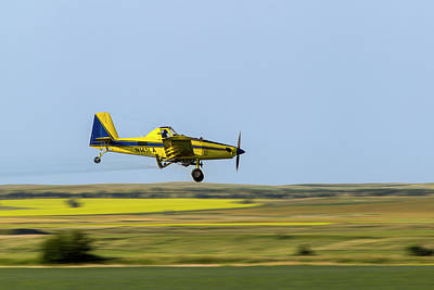 Crop Duster Airplane Spraying Flax Art Print by Chuck Haney