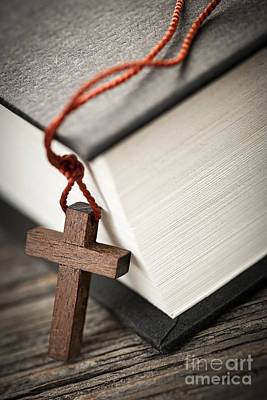 Crosses Photograph - Cross And Bible by Elena Elisseeva