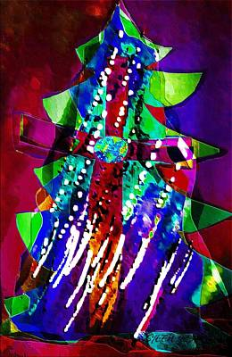 Cross Christmas Tree Art Print