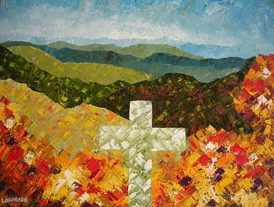 Unusual Religious Painting - Cross Of The Colorful Ridges by Ralph Loffredo