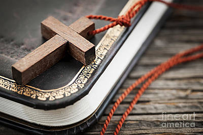 Religious Photograph - Cross On Bible by Elena Elisseeva