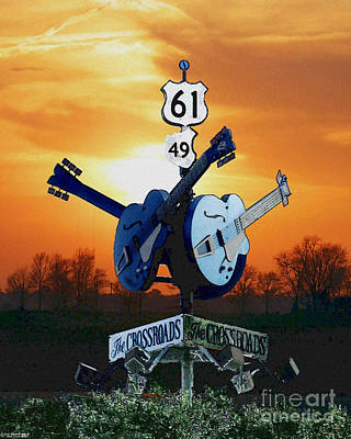 Crossroads Sunset  Blues Highway 61 Art Print