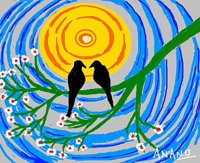 Crow. Bird Music Digital Art - Crows In Love by Anand Swaroop Manchiraju