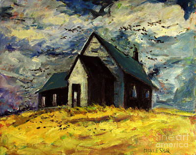Stormy Weather Painting - Crows Over A Wheat Field by Charlie Spear