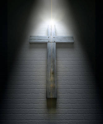 The Wooden Cross Digital Art - Crucifix On A Wall Under Spotlight by Allan Swart