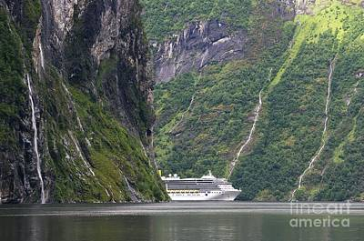 Norwegian Waterfall Photograph - Cruise Ship In A Fjord, Norway by Dr Juerg Alean