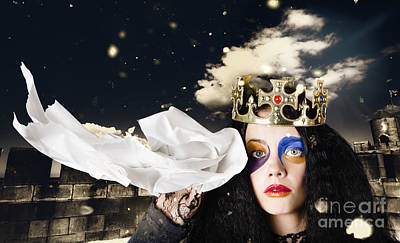 Fantasy Royalty-Free and Rights-Managed Images - Crying fairytale queen wiping tears with tissue by Jorgo Photography - Wall Art Gallery