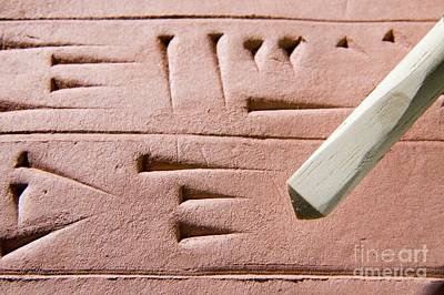 Cuneiform Clay Tablet And Stylus Print by Sheila Terry