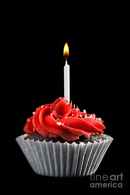 Photograph - Cupcake With Candle by Cindy Singleton