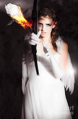 Cupid Angel Of Romance Setting Hearts On Fire Art Print