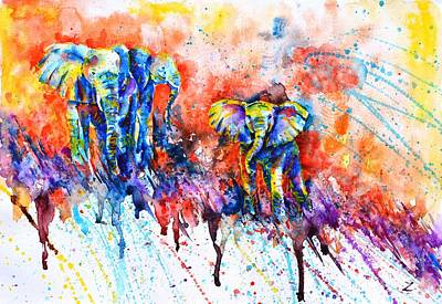 Painting - Curious Baby Elephant 2 by Zaira Dzhaubaeva