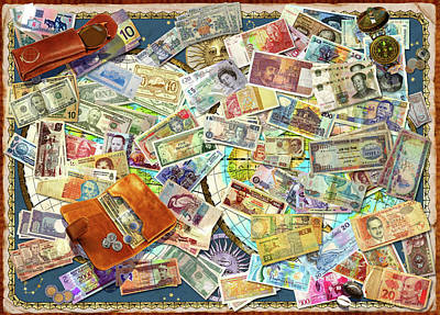 Collage Drawing - Currency Map by Garry Walton