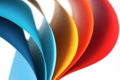 Curves Of Colored Papers On White Art Print by Colormos