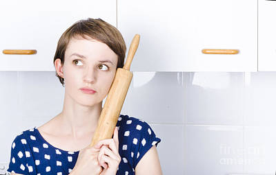 Cute Bakery Girl Holding Rolling Pin In Thought Art Print