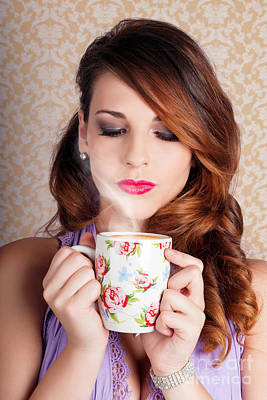 Cute Brunette Woman Drinking Hot Coffee Indoors Art Print by Jorgo Photography - Wall Art Gallery