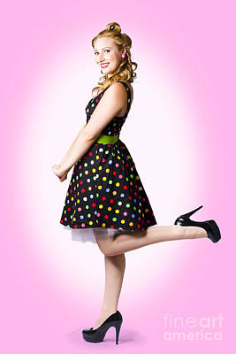 Cute Pin-up Style Fashion Model In Retro Dress Art Print