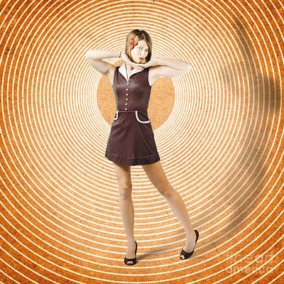 Warped Photograph - Cute Retro Pinup Girl In Time Warp. Tattoo Design by Jorgo Photography - Wall Art Gallery