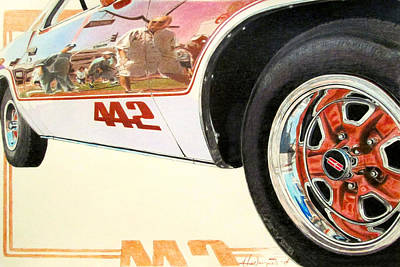 Automotive Drawing - Cutlass 442 - Copper And White by Hal Weyant
