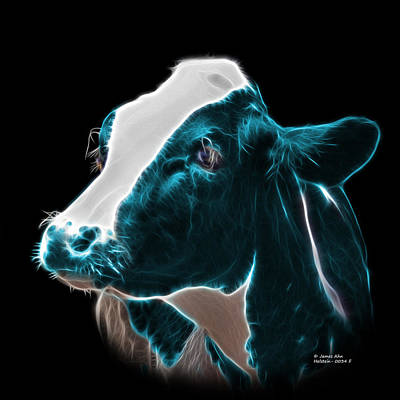 Animal Lover Digital Art - Cyan Holstein Cow - 0034 F by James Ahn