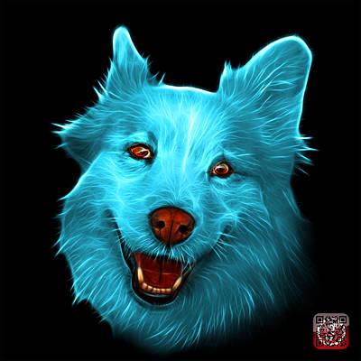 Painting - Cyan Siberian Husky Mix Dog Pop Art - 5060 Bb by James Ahn