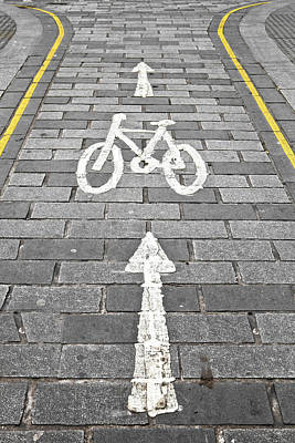 Traffic Photograph - Cycle Path by Tom Gowanlock