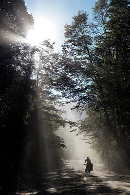 Gravel Road Photograph - Cyclist On Dusty Road An Early Morning by Birgit Ryningen