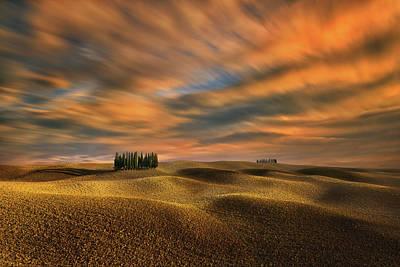 Autumn Hills Photograph - Cypresses... by Krzysztof Browko