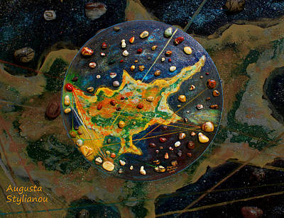 Mars Black Painting - Cyprus Planetary Map by Augusta Stylianou