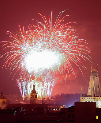 Prague Photograph - Czech Republic, Prague - New Years by Panoramic Images