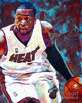 Sports Star Painting - D. Wade by Maria Arango