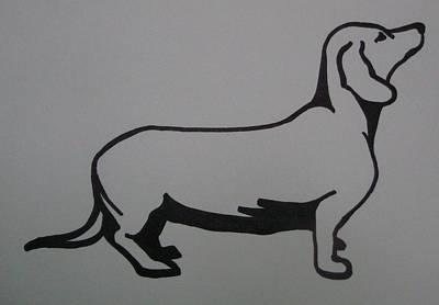 Dachsund Drawing - Dachshund by Joann Renner