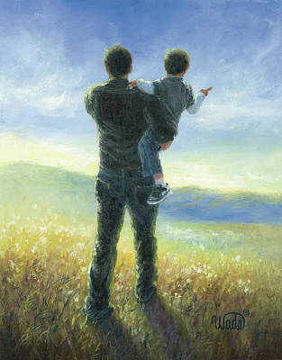 Father Painting - Dad And Me by Vickie Wade