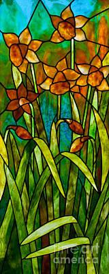 Youghiogheney Glass Glass Art - Daffodil Day by David Kennedy